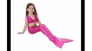 Хвост русалки Китайский блеск розовый + купальник