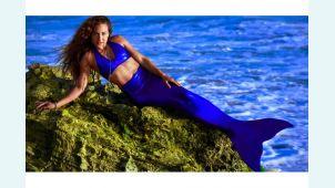 Хвост русалки для плавания Нормал синий+купальник