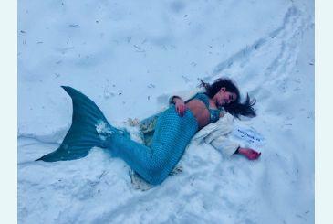 Хвост Люкс морская волна от Яны_1 Фотосессия на снегу