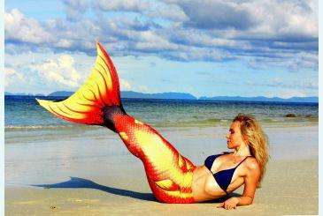 Хвост Дельфина красный на пляже