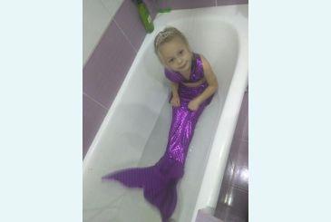 Хвост русалки фиолетовый блеск с чешуей