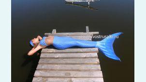 Хвост русалки Премиум с чешуей синий+купальник