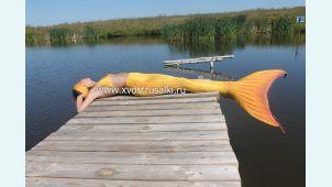 Хвост русалки Премиум с чешуей оранжевый+купальник