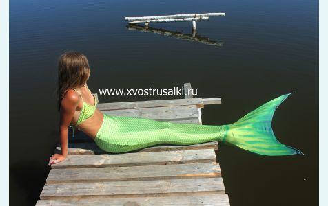 Хвост русалки для плавания+купальник салатовый модели премиум с чешуей