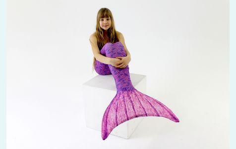 Хвост русалки для плавания Акватика  фиолетовый +купальник