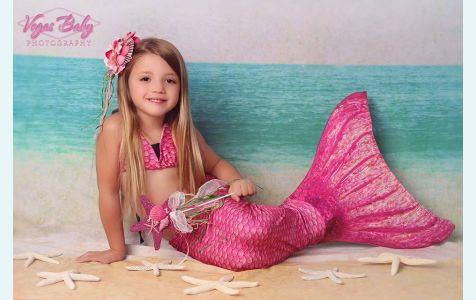 Хвост русалки для плавания Акватика розовый +купальник