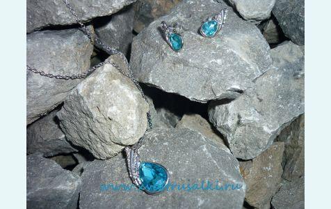 украшения для русалок, серьги и кулон в виде капель воды