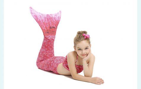 Хвост русалки Малибу нежно-розовый с чешуей + купальник