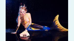 Хвост русалки для плавания  Delfina 3D Sea Queen синий +купальник