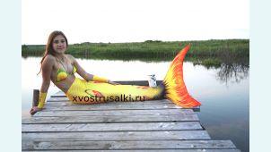 Хвост русалки Delfina 3D Sea Queen H2O золотой+купальник с ракушками