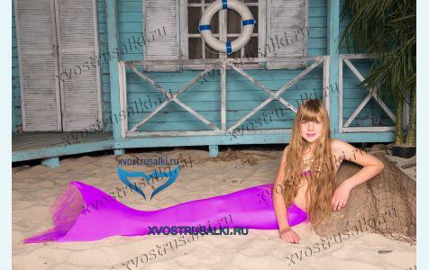 Хвост русалки Delfina Sirene сиреневый  Финляндия+купальник сиреневый с моноластой для плавания, костюм русалки