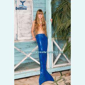 Хвост русалки Delfina Shine синий блеск+купальник