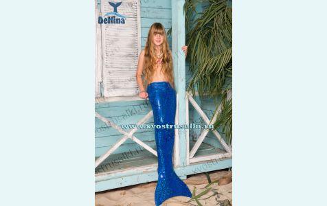 Хвост русалки Delfina Shine синий блеск с моноластой и купальником для плавания, можно купить