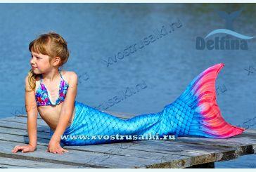 Хвост русалки Delfina  Sea Prinсess синий  с чешуей 3D+купальник с ракушками