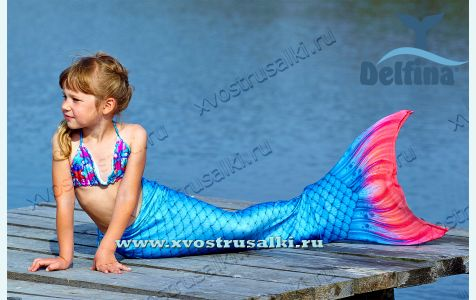 Хвост русалки Delfina  Sea Prinсess синий  с чешуей 3D+купальник