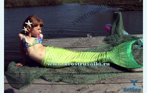 Хвост русалки Delfina Sea Prinсess 3D салатовый+купальник
