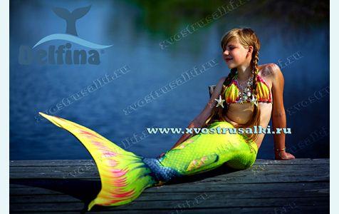 Хвост русалки  Delfina Sea Queen Тропикана Лайм с эффектом 3D как настоящий силиконовый хвост с плавниками