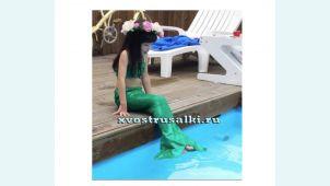 Хвост русалки для малышей зеленый +топ и шорты