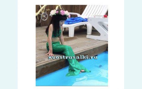 Хвост русалки для малышей зеленый +топ и шорты, костюм русалки, купить хвост русалки дешево