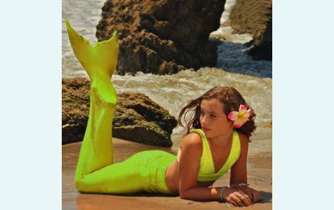 Хвост русалки для плавания+купальник модель нормал желтого цвета