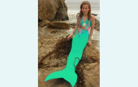 Хвост русалки для плавания бирюзового цвета с моноластой и купальником