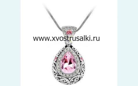 Кулон русалки со стразами розовый