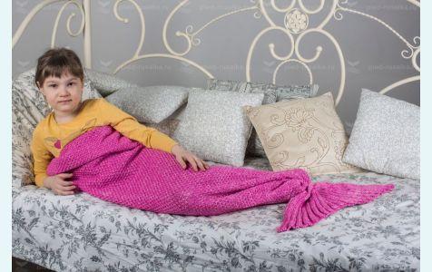 Плед Хвост русалки вязаный фиолетовый для сна и игр