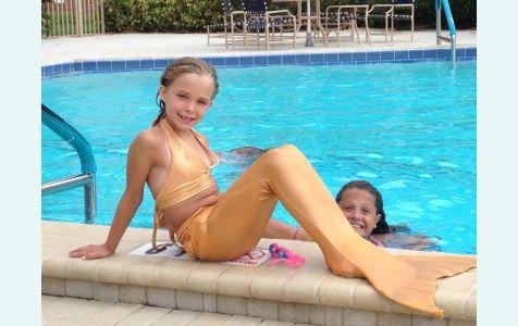 Хвост русалки бежево-золотистый купить со скидкой дешево с моноластой и купальником