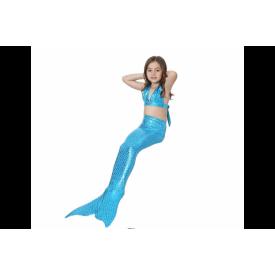 Хвост русалки Китайский блеск голубой + купальник