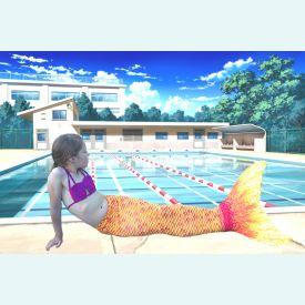 Хвост русалки Люкс Лайт оранжевый + купальник
