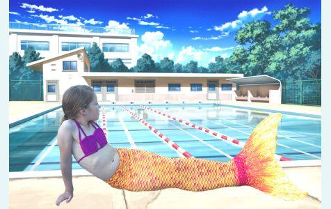 Хвост русалки Люкс Лайт оранжевый с чешуей + купальник