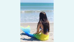 Хвост русалки Люкс Лайт желто-синий +купальник
