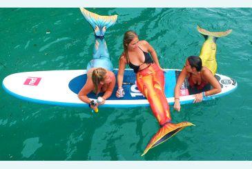 Хвост Дельфина красный, морская волна и салатовый
