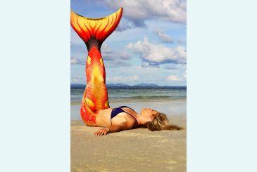 Хвост Дельфина красный на пляже 1