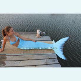 Хвост русалки Премиум с чешуей голубой+топ