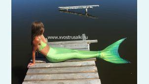 Хвост русалки Премиум с чешуей салатовый+купальник