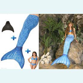 Хвост русалки Люкс Акватика голубой +купальник