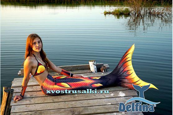 НОВИНКА! Огненно-черный  хвост русалки  от Delfina