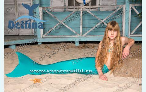 Хвост русалки Delfina Ariel морская волна c купальником и моноластой
