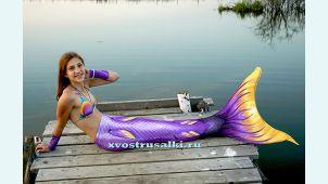 Хвост русалки Delfina 3D Sea Queen  фиолетовый. С купальником.