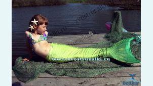 Хвост русалки Delfina Sea Prinсess салатовый с чешуей 3D +купальник с ракушками