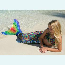 Хвост русалки Люкс Акватика радужный+купальник