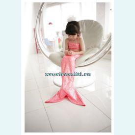 Хвост русалки для малышей розовый  +топ и шорты