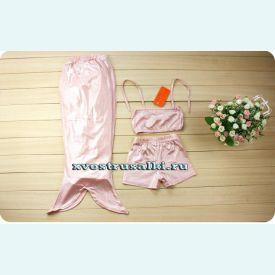 Хвост русалки для малышей перламутр  +топ и шорты