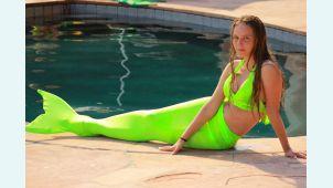 Хвост русалки  для плавания Стандарт салатовый+купальник