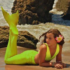Хвост русалки Нормал для плавания желтый+купальник