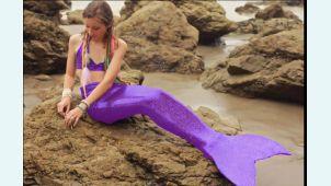 Хвост русалки для плавания Стандарт фиолетовый +купальник