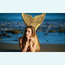 Хвост русалки для плавания (Австралия) золотой+купальник