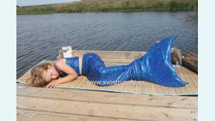 Хвост русалки синий блеск +купальник