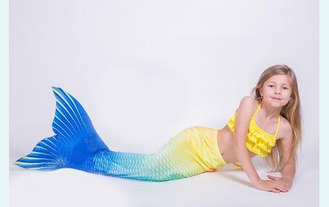 Хвост русалки для плавания Люкс Лайт желто-синий +купальник